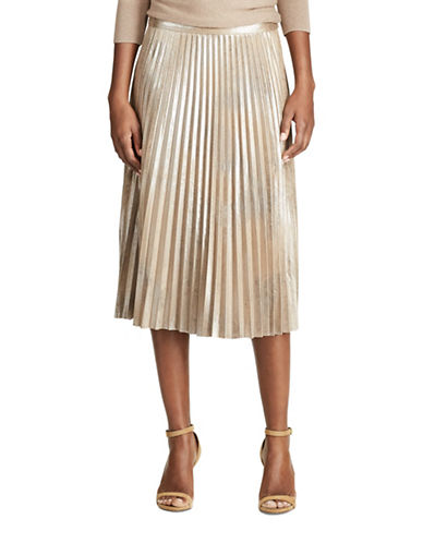 Chaps Metallic Faux-Suede Pleated Skirt-METALLIC GOLD-8