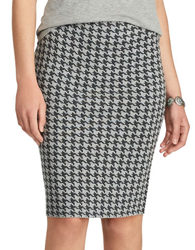 Chaps Houndstooth Pencil Skirt-GREY-Small