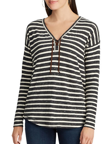 Chaps Striped Lace-Up Cotton Top-BLUE-Medium