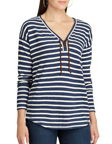 Chaps Striped Lace-Up Cotton Top-BLUE-Small