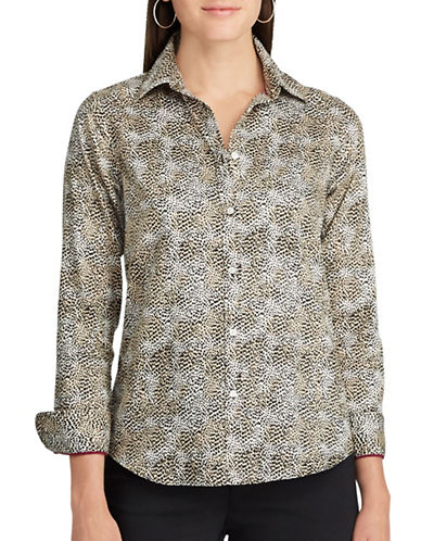 Chaps Leopard-Print Cotton Button-Down Shirt-WHITE-Medium