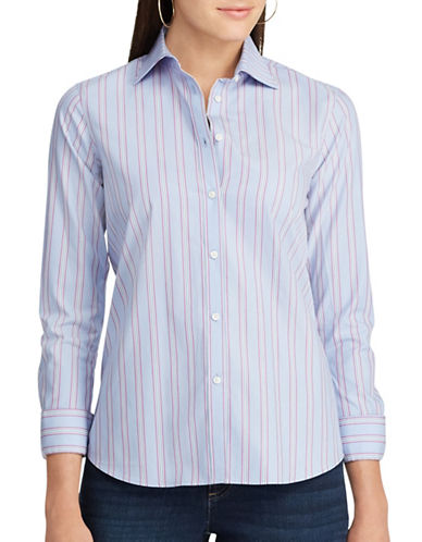 Chaps Striped Cotton Shirt Button-Down Shirt-BLUE MULTI-Large