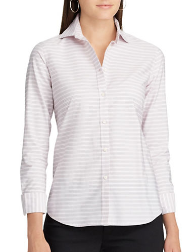 Chaps Striped Cotton Shirt Button-Down Shirt-PINK MULTI-Large