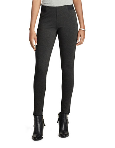Chaps Stretch Ponte Skinny Pants-GREY-X-Small