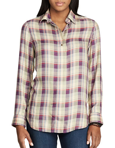 Chaps Plaid Twill Shirt-GREEN-Small
