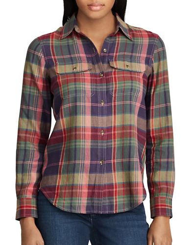 Chaps Plaid Cotton Button-Down Workshirt-PLUM MULTI-X-Large