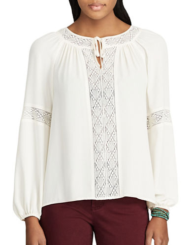 Chaps Lace-Trim Georgette Peasant Top-WHITE-X-Small