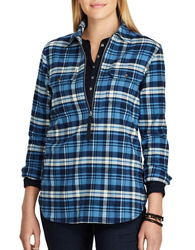 Chaps Buffalo Plaid Cotton Button-Down Shirt-BLUE MULTI-X-Small