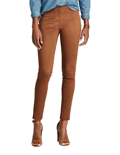 Chaps Faux-Suede Skinny Pants-BROWN-X-Large