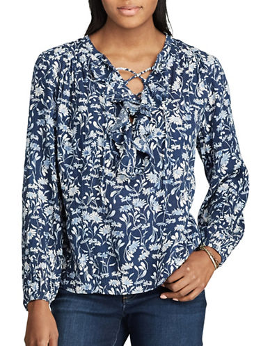 Chaps Floral Ruffled Peasant Top-BLUE-Small