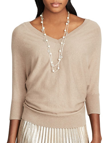 Chaps V-Neck Dolman Sleeve Sweater-BROWN-Small