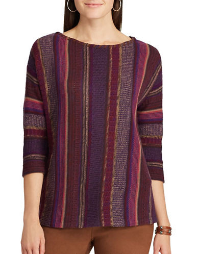 Chaps Striped Faux Leather Cotton Sweater-PURPLE-X-Small