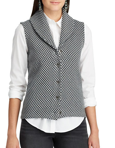 Chaps Checked Sweater Vest-GREY-Small