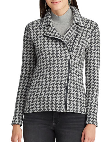 Chaps Houndstooth Moto Jacket-GREY MULTI-Large