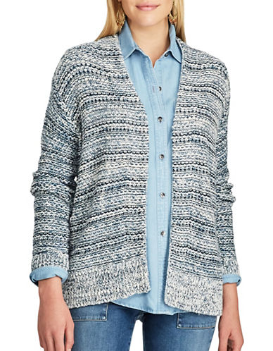 Chaps Open Front Marled Cardigan-BLUE MULTI-Medium