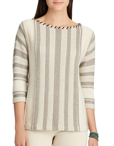 Chaps Striped Faux Leather Sweater-SAWDUST HEATHER-Small