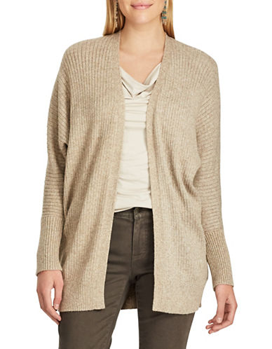 Chaps Open Front Cardigan-BROWN-Large
