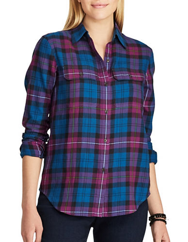 Chaps Plaid Cotton Button-Down Shirt-BLUE MULTI-Medium