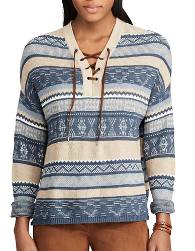 Chaps Striped Lace-Up Sweater-BLUE-Small