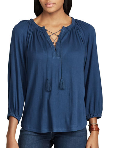 Chaps Lace-Trimmed Peasant Top-BLUE-Medium
