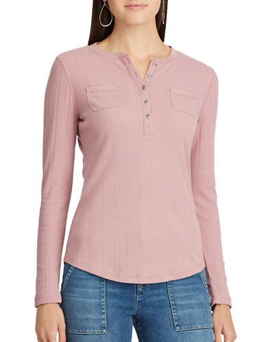 Chaps Cotton Henley Top-ROSE GREY-Large