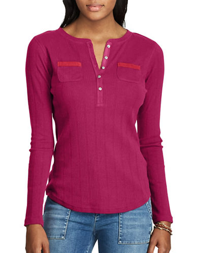 Chaps Cotton Henley Top-RED GARNET-Small