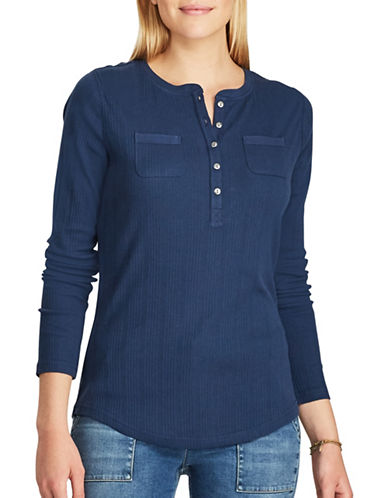 Chaps Walker Rib-Knitted Cotton Henley-BLUE-Large
