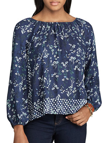 Chaps Floral Peasant Top-BLUE-Small