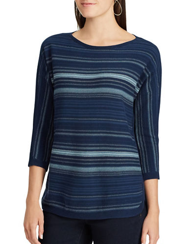 Chaps Petite Striped Cotton Sweater-BLUE MULTI-Petite X-Small