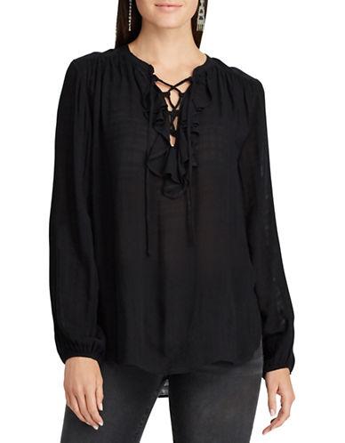 Chaps Petite Elba Long-Sleeve Blouse-BLACK-Petite Large