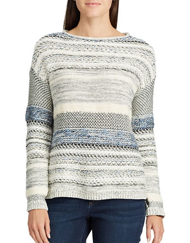 Chaps Petite Vented Sweater-WHITE-Petite X-Small