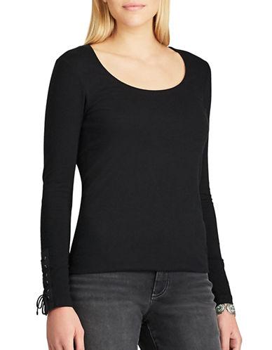 Chaps Petite Lace-Cuff Sweater-BLACK-Petite X-Large