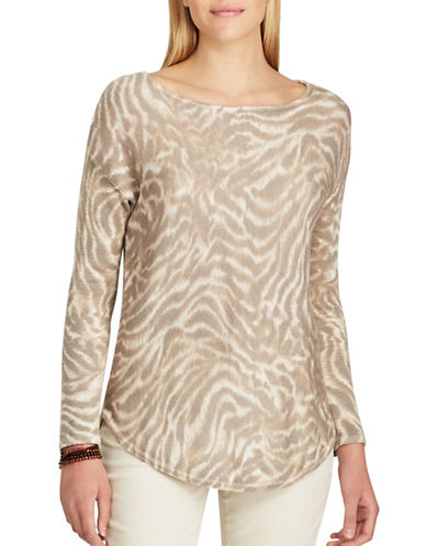 Chaps Petite Animal Printed Jersey Sweater-BEIGE-Petite Large