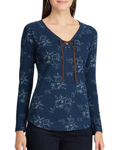 Chaps Petite Lace-Up Floral Cotton Top-INDIGO MULTI-Petite X-Small