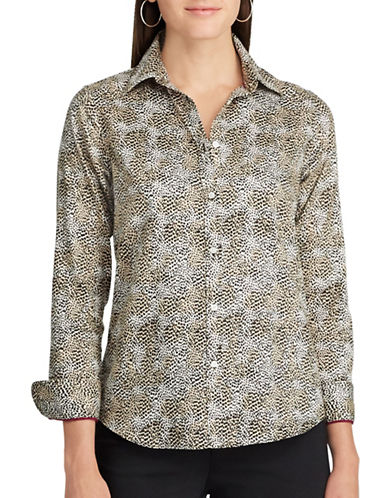 Chaps Petite Leopard-Print Cotton Button-Down Shirt-MULTI-Petite Small