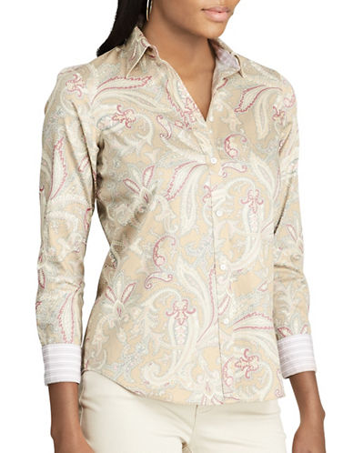 Chaps Petite Paisley Cotton Button-Down Shirt-CREAM MULTI-Petite X-Small