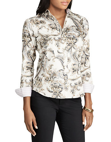 Chaps Petite Paisley Cotton Button-Down Shirt-WHITE-Petite X-Small