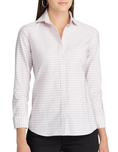 Chaps Petite Striped Cotton Button-Down Shirt-PINK MULTI-Petite Large