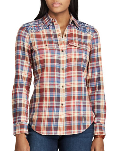 Chaps Petite Plaid Cotton Button-Down Workshirt-TAN MULTI-Petite Small