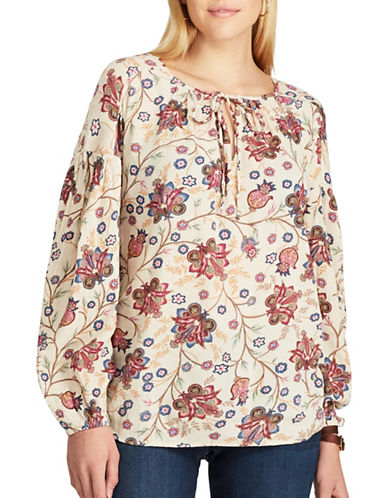 Chaps Petite Floral Long Sleeve Top-CREAM MULTI-Petite X-Small