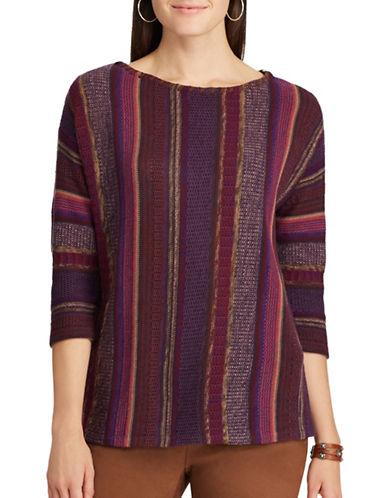 Chaps Petite Three-Quarter Sleeve Sweater-PURPLE-Petite X-Large