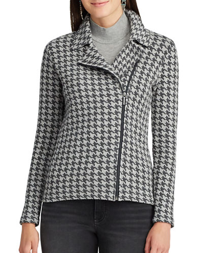 Chaps Petite Houndstooth Sweater-GREY-Petite X-Small