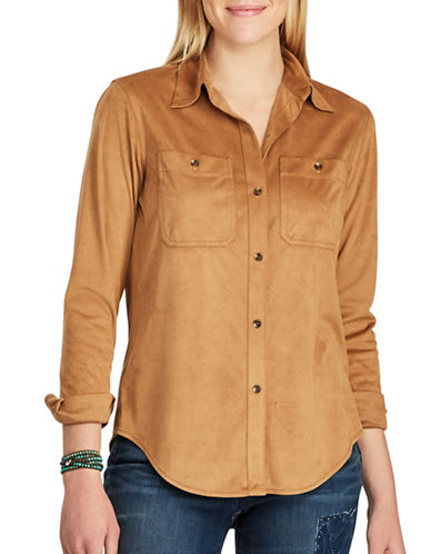 Chaps Petite Faux Suede Button-Down Workshirt-BROWN-Petite Medium