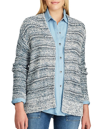Chaps Petite Open Front Marled Cardigan-BLUE MULTI-Petite X-Small