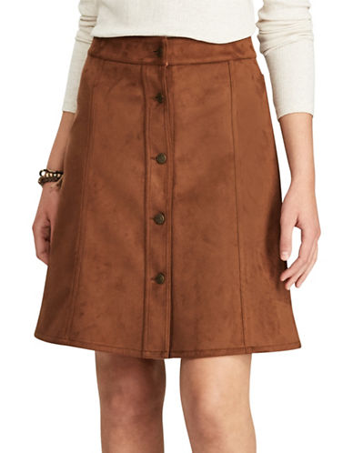 Chaps Petite Faux Suede A-Line Skirt-BROWN-Petite 4