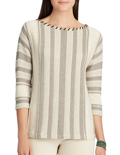 Chaps Petite Lace-Up Neckline Sweater-GREY-Petite X-Small