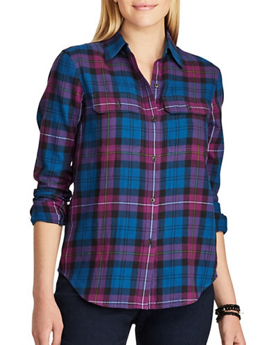 Chaps Petite Plaid Cotton Button-Down Shirt-BLUE-Petite Small