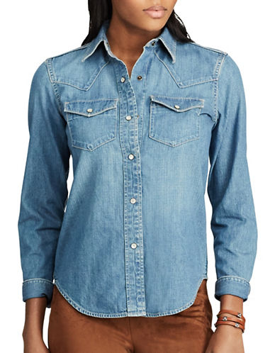 Chaps Petite Denim Western Cotton Button-Down Shirt-BLUE-Petite Medium
