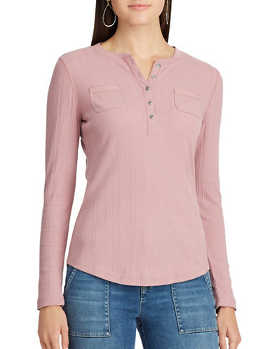 Chaps Petite Cotton Henley-ROSE GREY-Petite Small