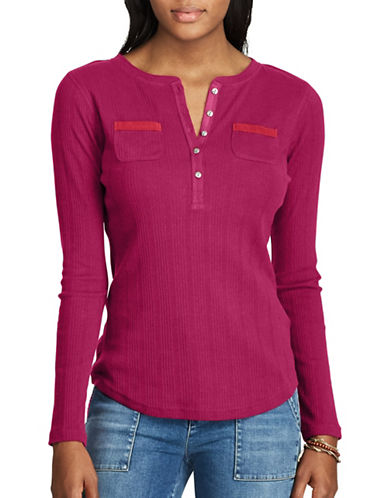 Chaps Petite Cotton Henley-RED GARNET-Petite X-Small